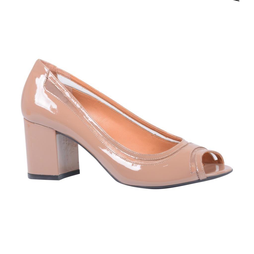 Sapato Peep Toe LOUCOS 7 SANTOS Verniz Capuccino