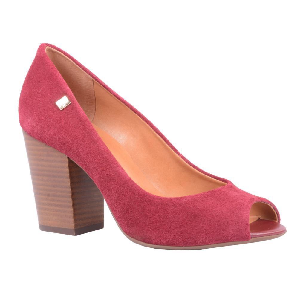 Sapato Peep Toe LOUCOS & SANTOS Camurça Cabernet