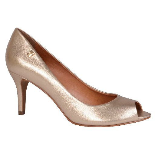Sapato Peep Toe LOUCOS & SANTOS Ouro Metalizado