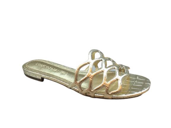 Rasteira LOUCOS & SANTOS Metalic Croco Soft Ouro