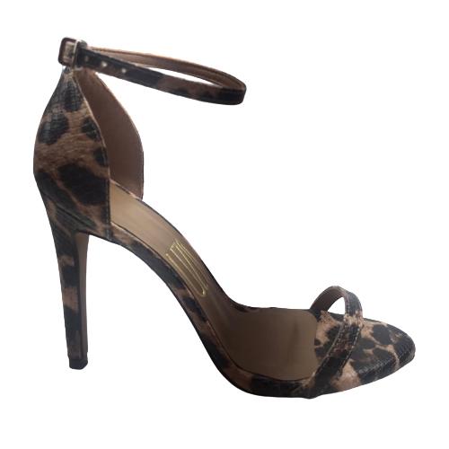 Sandália Uza Shoes  Salta Alto Fino Animal Print