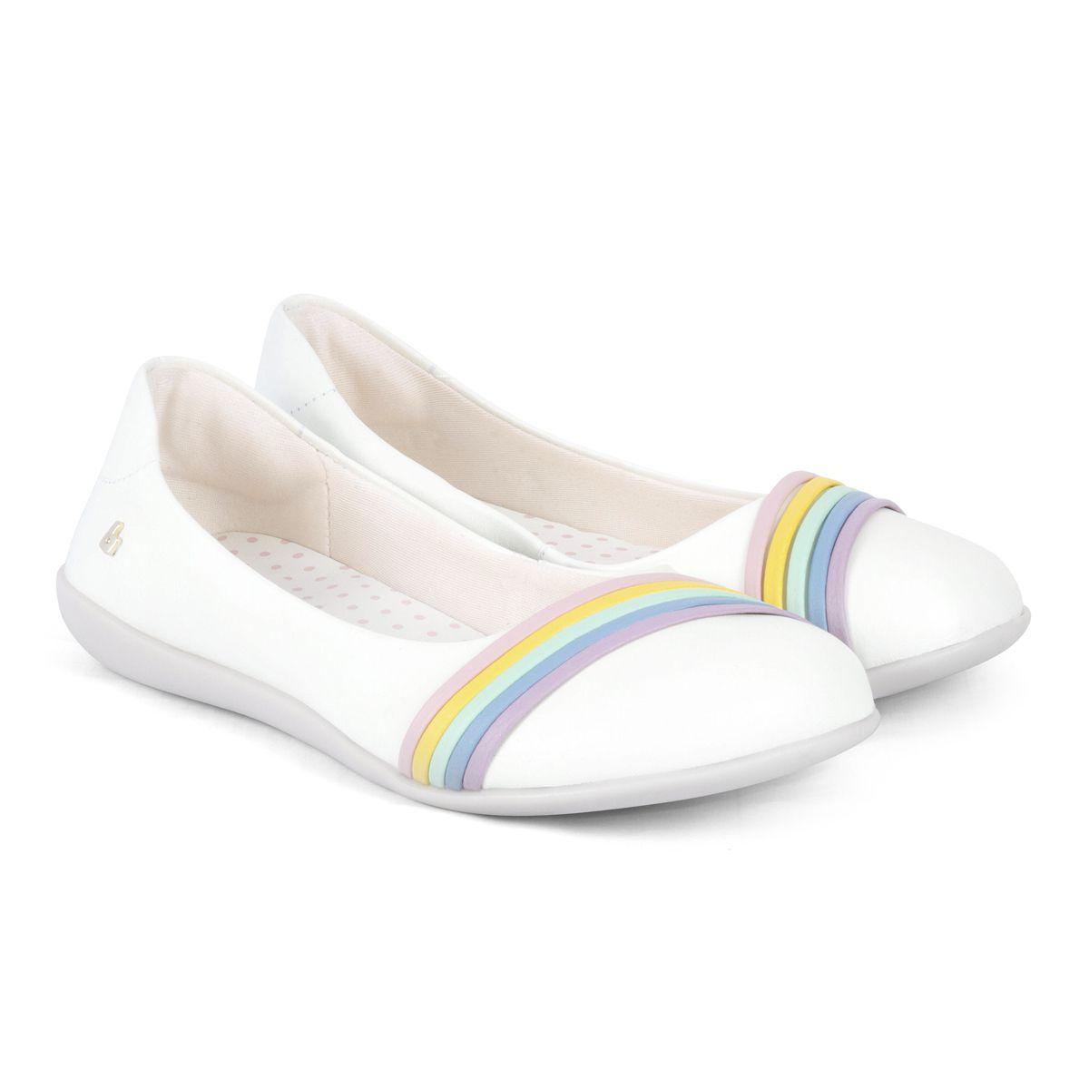 Sapatilha Infantil BIBI Rainbow Feminina Branco Colorido