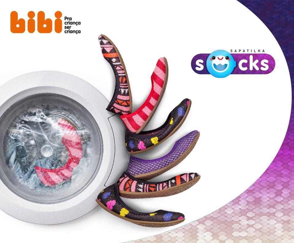 Sapatilha Infantil BIBI Socks Branco/Preto