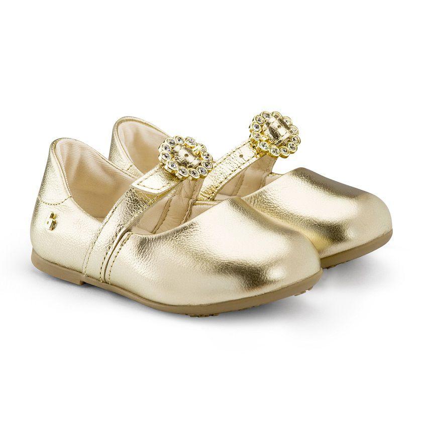 Sapatilha Infantil Feminina Bibi Anjos Mini Ouro Branco