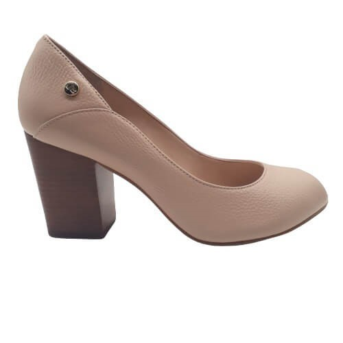 Sapato Peep Toe JORGE BISCHOFF Couro Floter Basic Bege