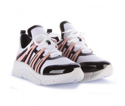 Tênis Di VALENTINI Runner Sneaker Verniz Preto/Rosa