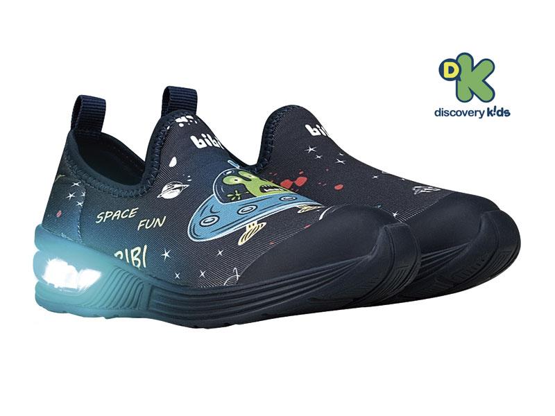 Tênis Infantil Bibi de Luz Space Wave Masculino Marinho Estampado Espaço