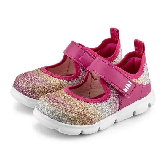 Tênis Infantil Bibi Energy Baby New II Feminino Pink com Glitter
