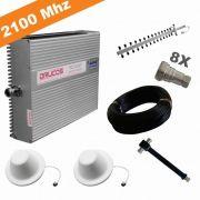 KIT COMPLETO REPETIDOR 2100 Mhz 02 Watts 83dB + ANTENA YAGI 16Dbi + 2 ANTENA OMNI 05dBi