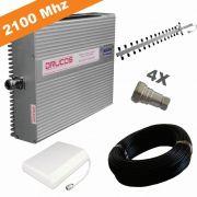 KIT COMPLETO REPETIDOR 2100 Mhz 02 Watts 83dB + ANTENA YAGI 16Dbi + ANTENA PAINEL SETORIAL 10dBi