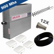 KIT COMPLETO REPETIDOR 900 Mhz 02 Watts 83dB + ANTENA YAGI 18Dbi + 04 ANTENAS PAINEL SETORIAL 10dBi