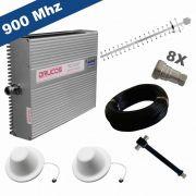KIT COMPLETO REPETIDOR 900 Mhz 02 Watts 83dB + ANTENA YAGI 18Dbi + 2 ANTENA OMNI 05dBi