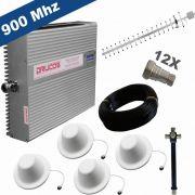 KIT COMPLETO REPETIDOR 900 Mhz 02 Watts 83dB + ANTENA YAGI 18Dbi + 4 ANTENAS OMNI 05dBi