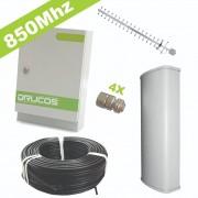 Kit de Instalação 850Mhz 2Watts 85dB (Repetidor + Antenas + Cabo + Conectores)