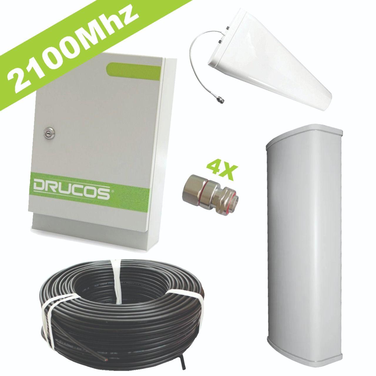 Kit de Instalação 2100Mhz 2Watts 85dB (Repetidor + Antenas + Cabo + Conectores)