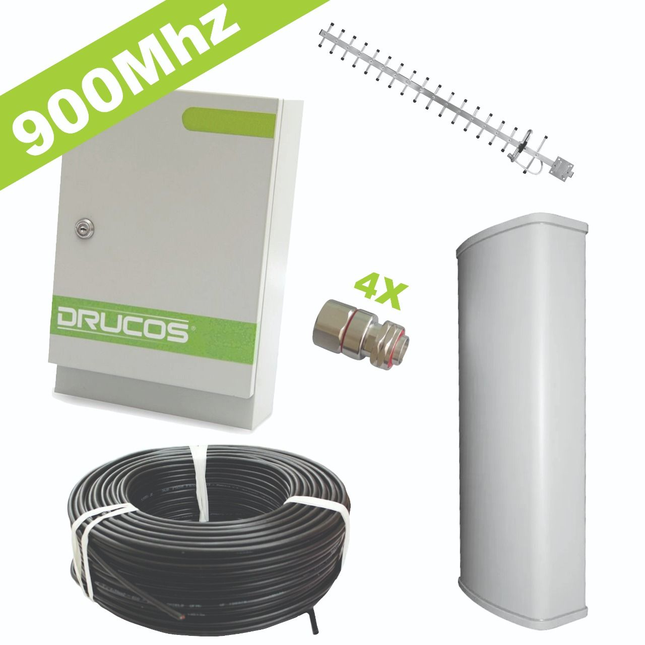 Kit de Instalação 900Mhz 2Watts 85dB (Repetidor + Antenas + Cabo + Conectores)