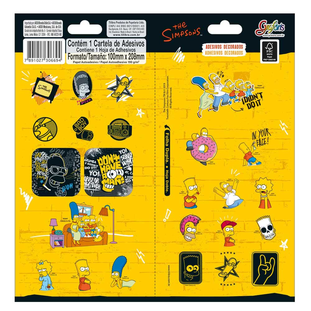 Adesivo Duplo Decorado The Simpsons - Tilibra