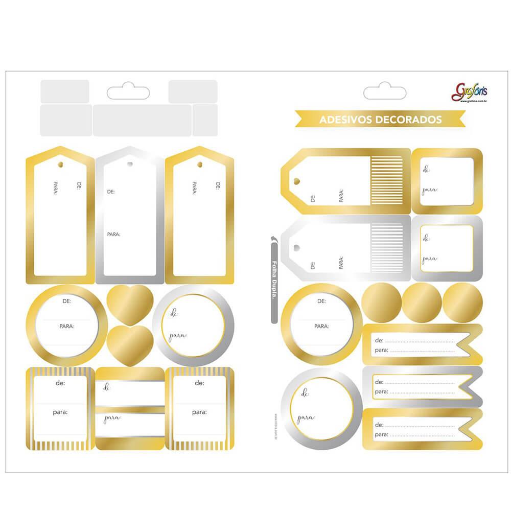 Adesivo Decorado Duplo Metalizado Presente De/Para Grafon's - Tilibra