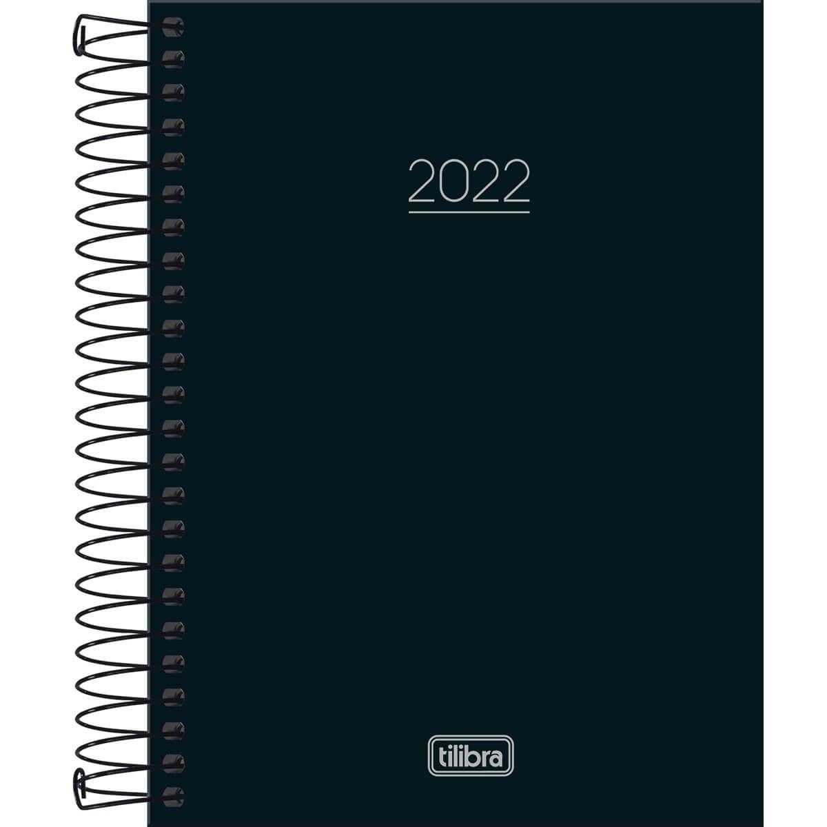 Agenda Espiral Diária 11,7 x 16,4 cm Pepper Preta 2022 - Tilibra
