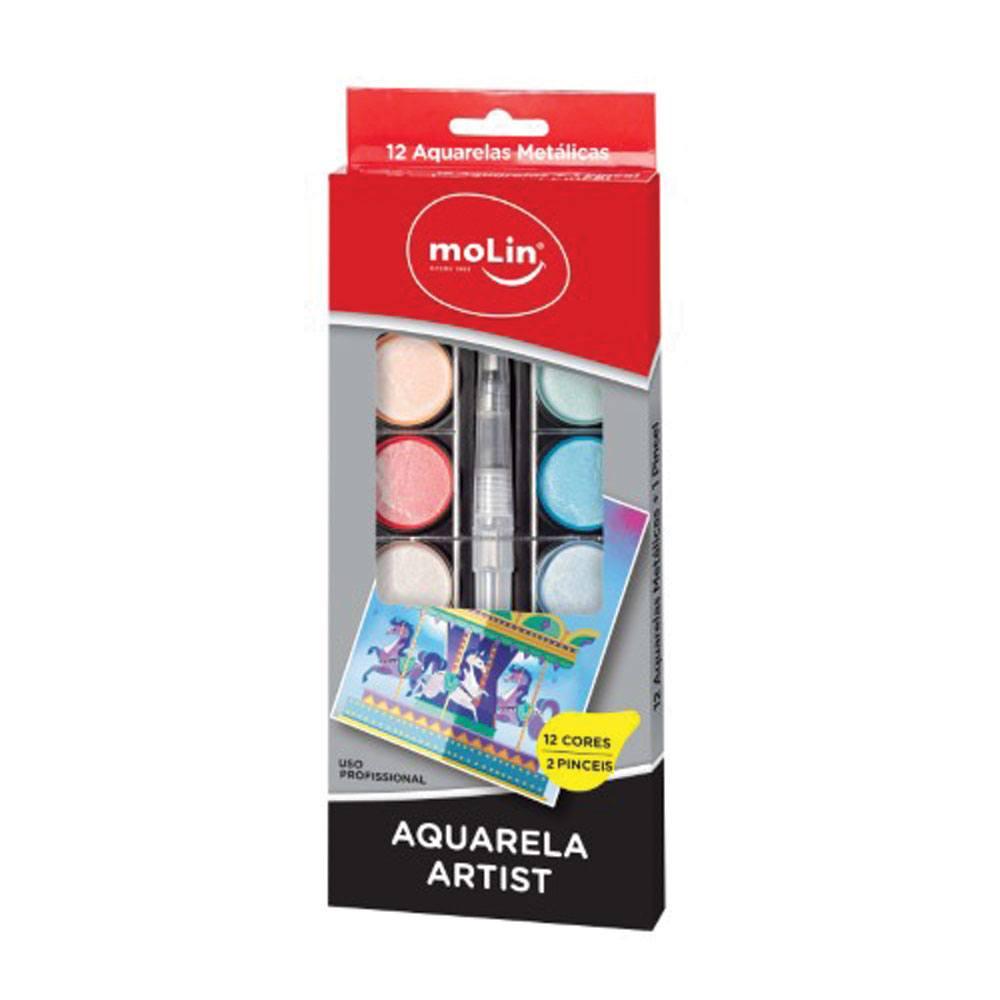 Aquarela Metálica Artist Estojo C/ 12 Cores + 2 pincéis - Molin