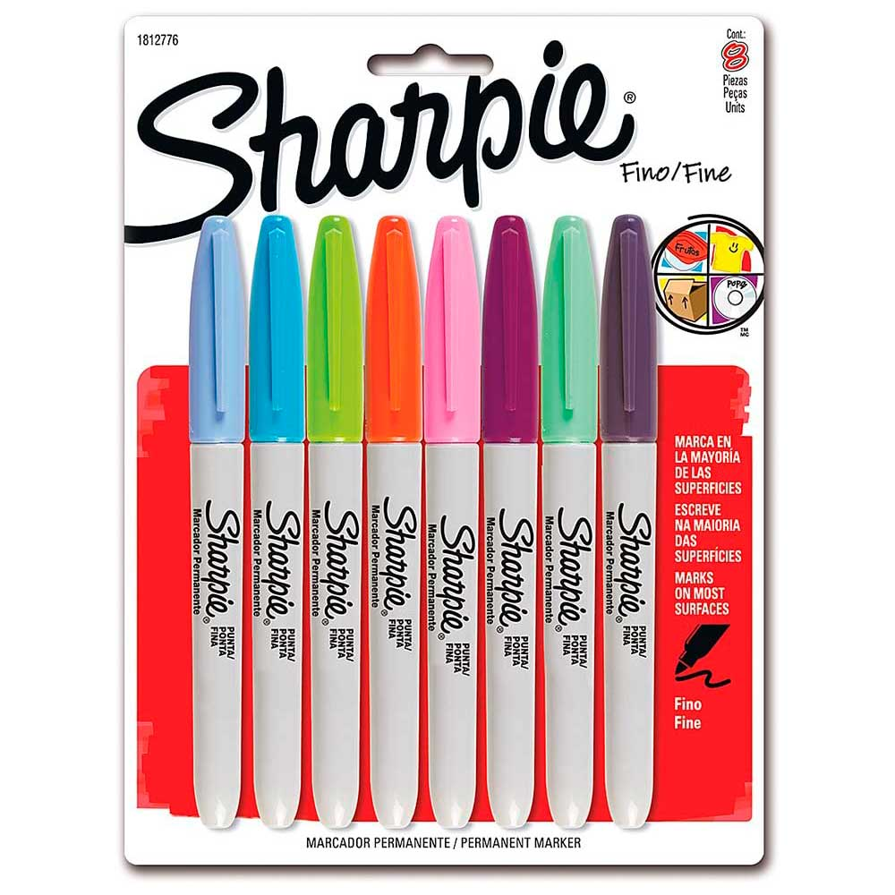 Marcador Permanente Fino C/ 8 Cores Sortidas - Sharpie