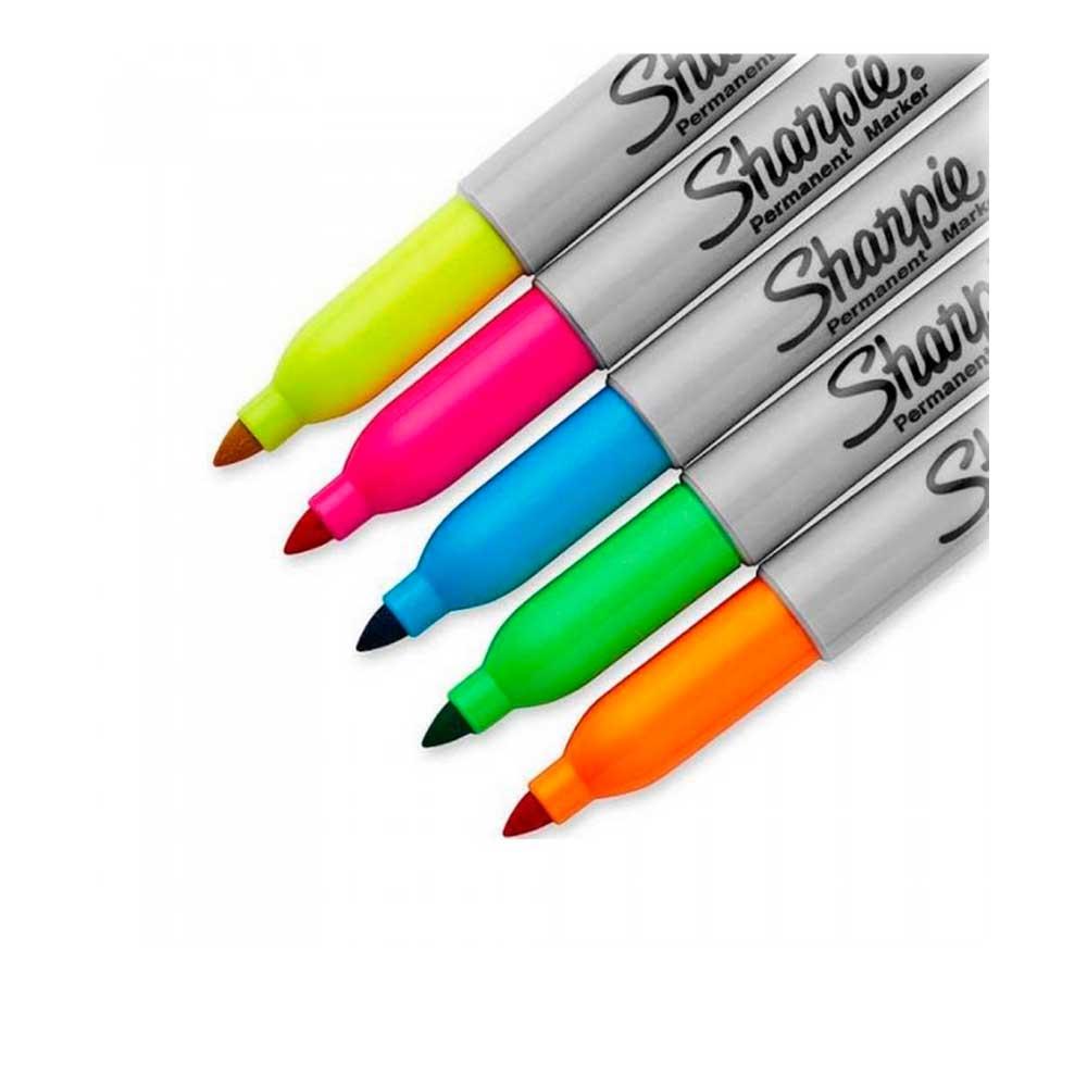 Marcador Permanente Fino Neon C/ 5 Cores - Sharpie