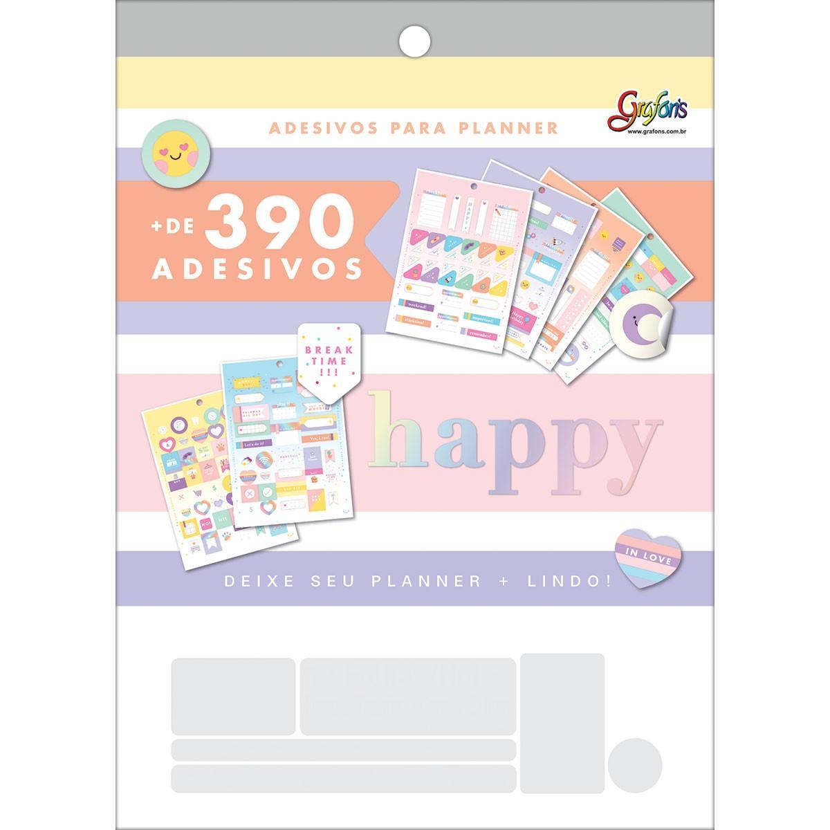 Bloco de Adesivos Para Planner Happy 12 Fls - Tilibra