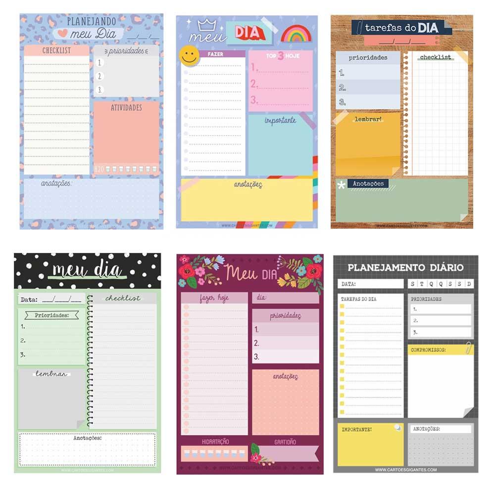 Bloco de Anotações/Planner Diário 50 Fls - Cartões Gigantes