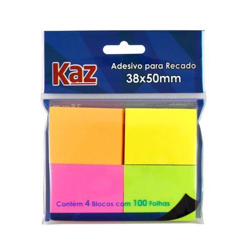 Bloco Autoadesivo P/ Recado 4Bl X 100FLS 38X50 Neon Cores