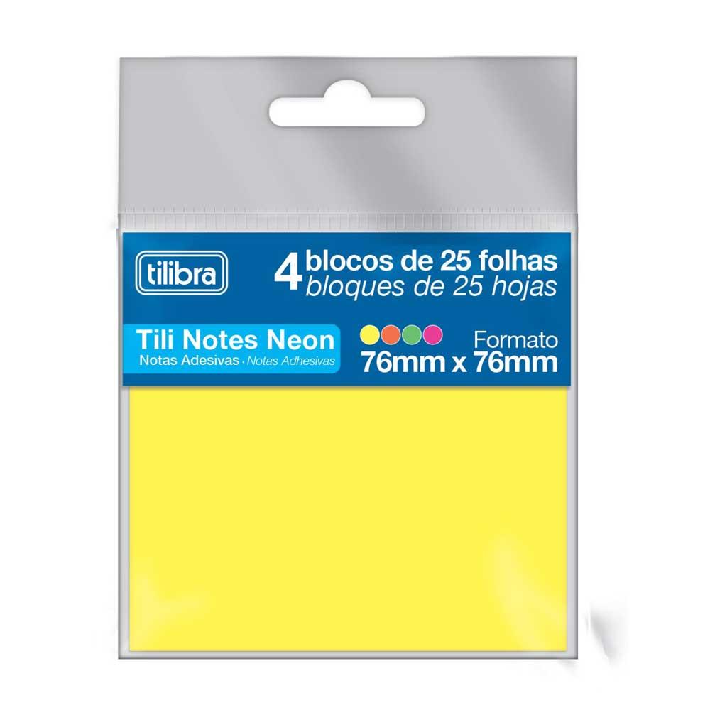 Bloco Auto Adesivo Tili Notes 76x76mm  4 Cores Neon - Tilibra