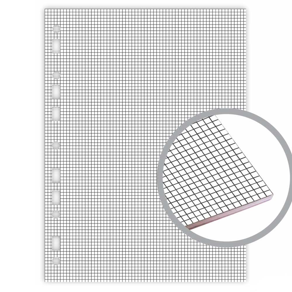 Bloco Fichário Colegial Branco Quadriculado 90g/m² 80 Fls - Merci