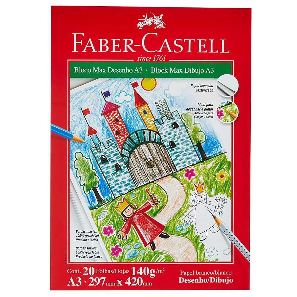 Bloco Max Desenho A4 140g 20F Branco - Faber-Castell