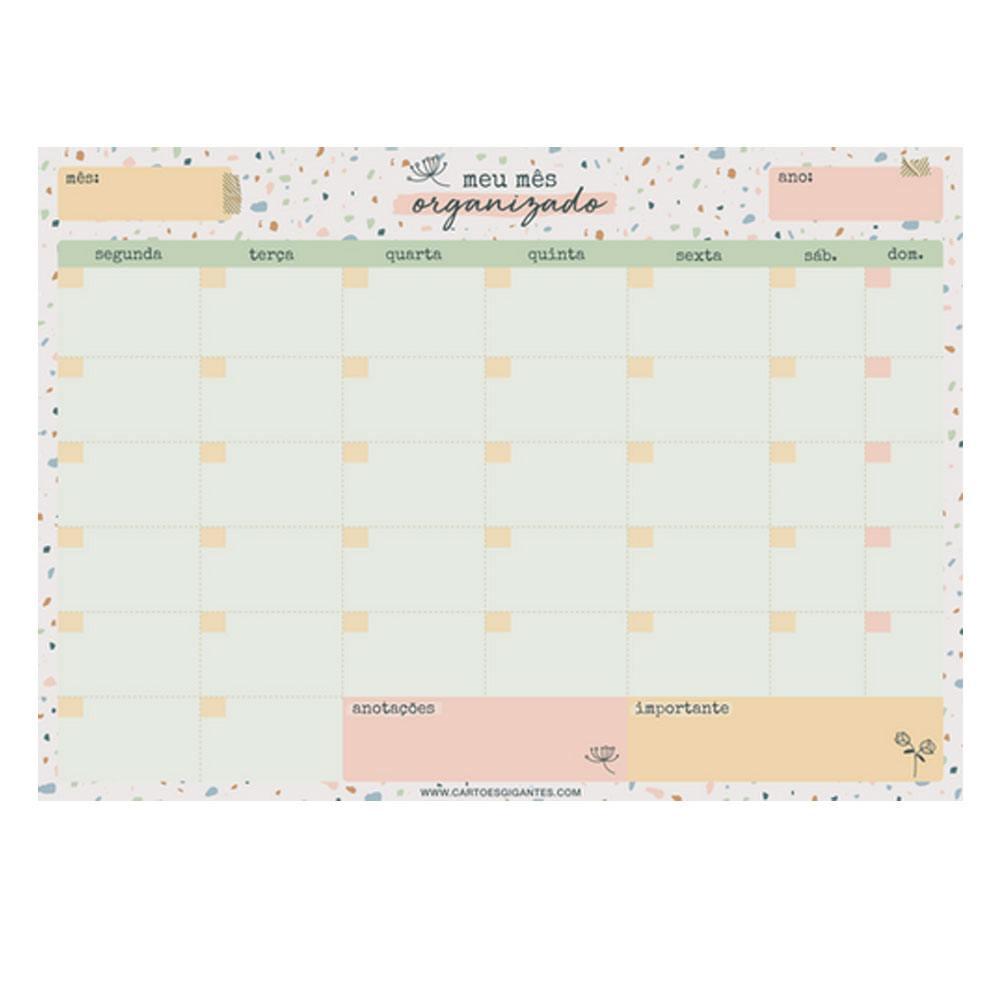 Bloco Planner de Mesa Mensal 24x34cm - Cartões Gigantes