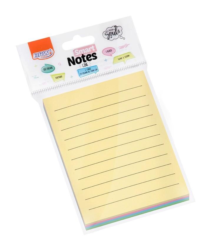 Bloco Autoadesivo Smart Notes Line 76x102mm Pautado Pastel c/ 100fls - BRW