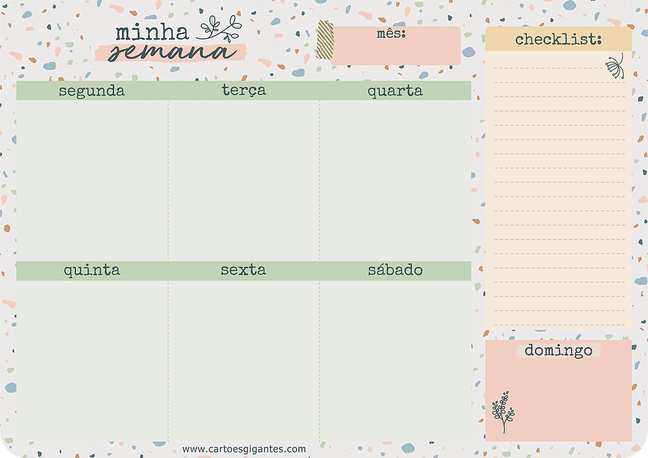 Bloco Week - Planner Semanal 17x24Cm - Cartões Gigantes
