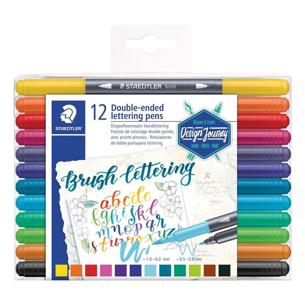Caneta Hidrocor Brush Pen Brush Letter Duo Ponta Dupla Estojo C/ 12 Cores - Staedtler