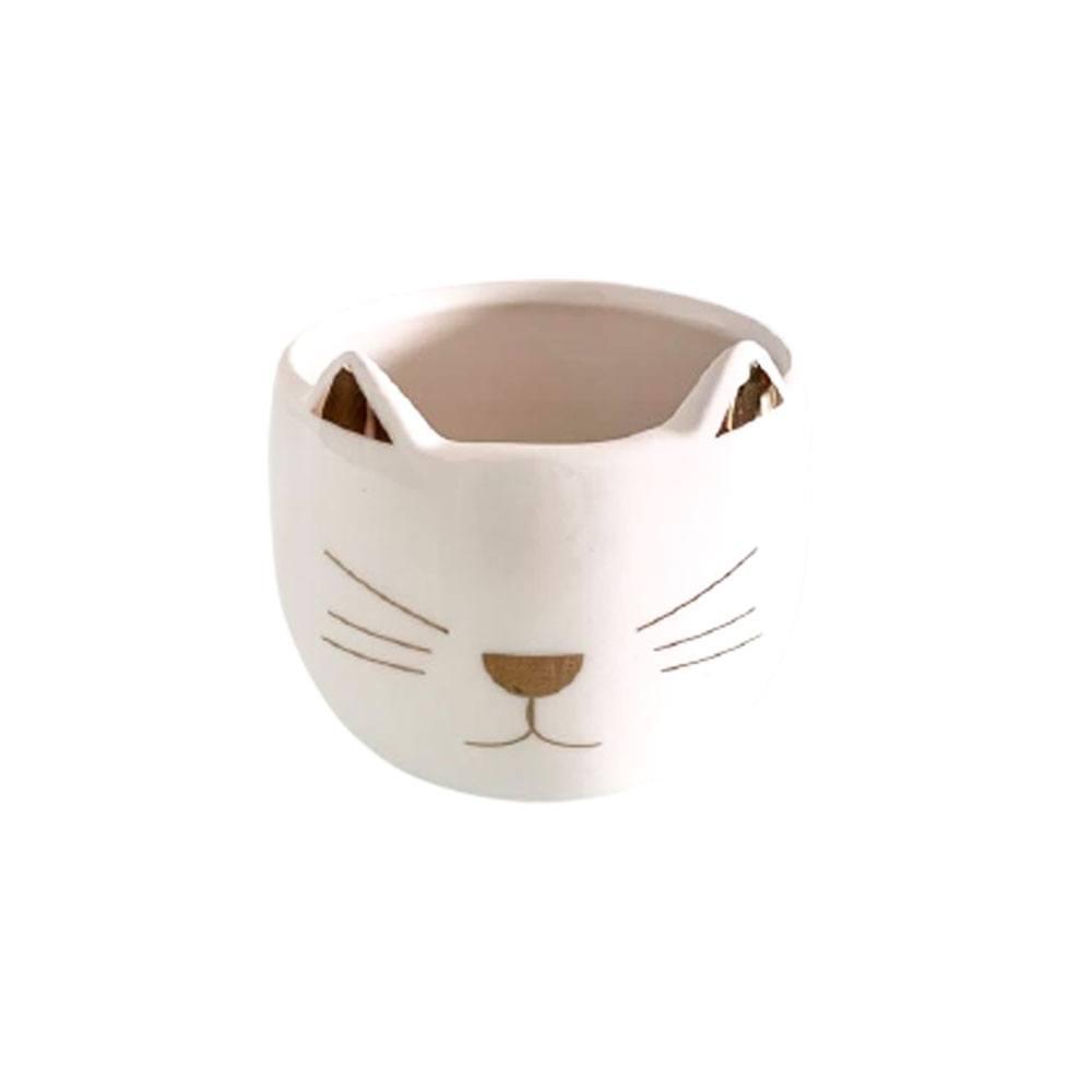 Cachepot Decorativo De Porcelana Gato Estampa Dourada 7x8cm