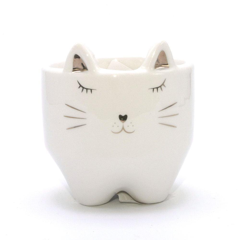 Cachepot Decorativo De Porcelana Gato Estampa Dourada 8X8cm