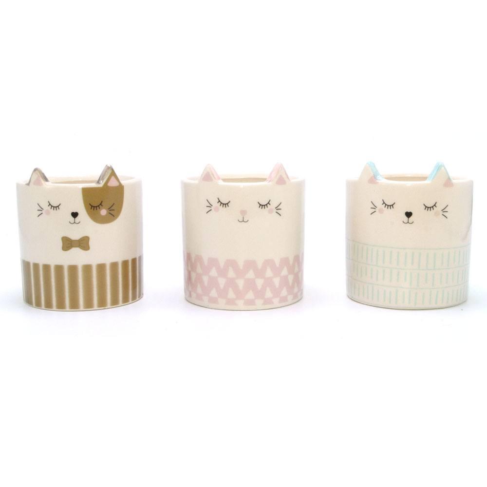 Cachepot Decorativo de Porcelana Gato