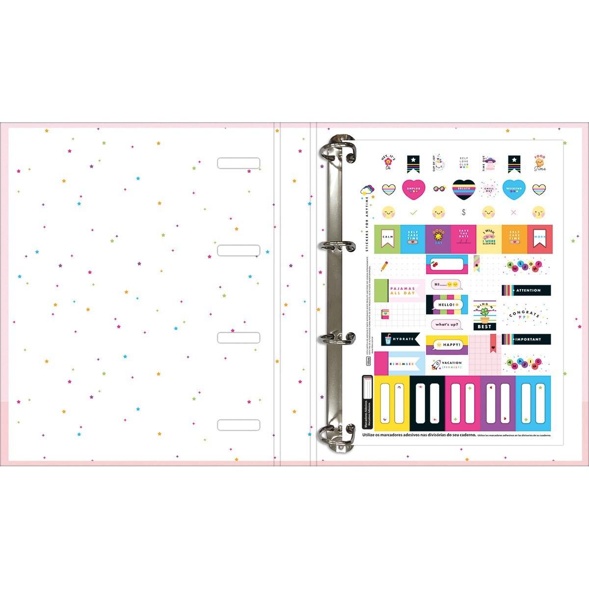 Caderno Argolado Cartonado Universitário c/ Elástico Happy 80 Fls - Tilibra