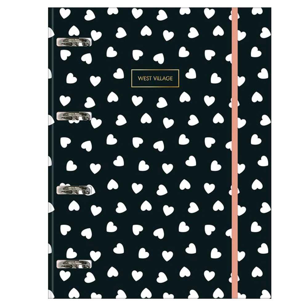 Caderno Argolado/ Fichário Cartonado Universitário Com Elástico West Village 80 fls - Tilibra