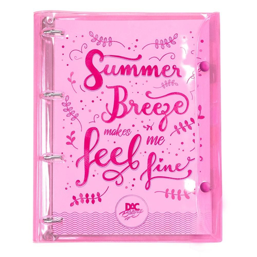 Caderno Argolado/Fichário Universitário Cristal Breeze Rosa 192 Fls. - DAC