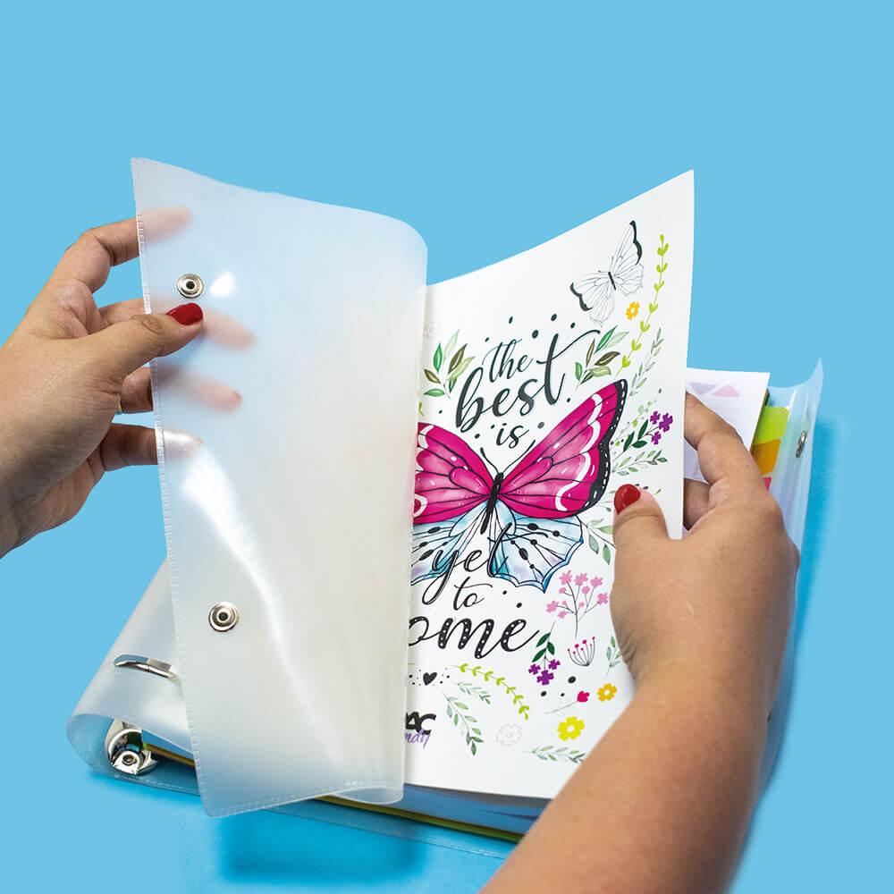 Caderno Argolado/Fichário Universitário em PVC All Clear Trendy Borboleta 192Fls  DAC