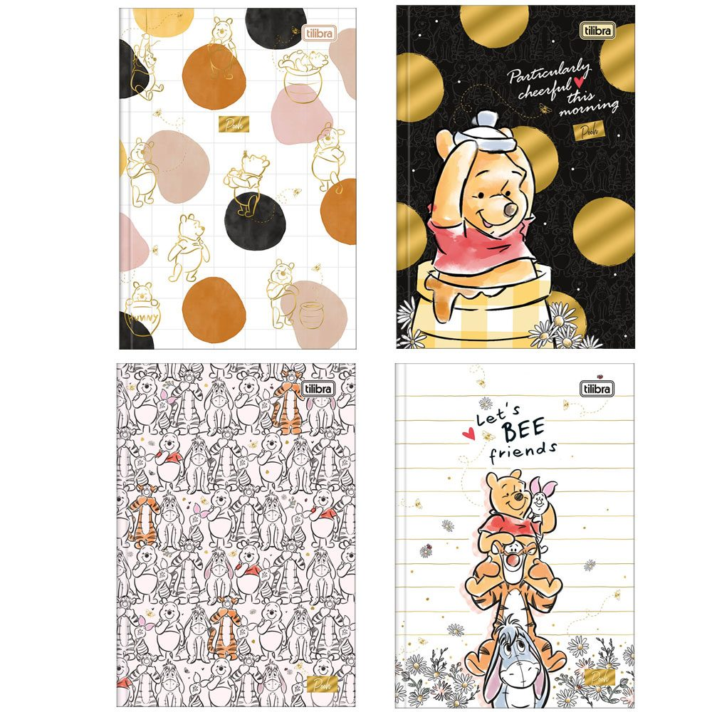 Caderno Brochura Capa Dura 1/4 Pooh 80 Fls - Tilibra
