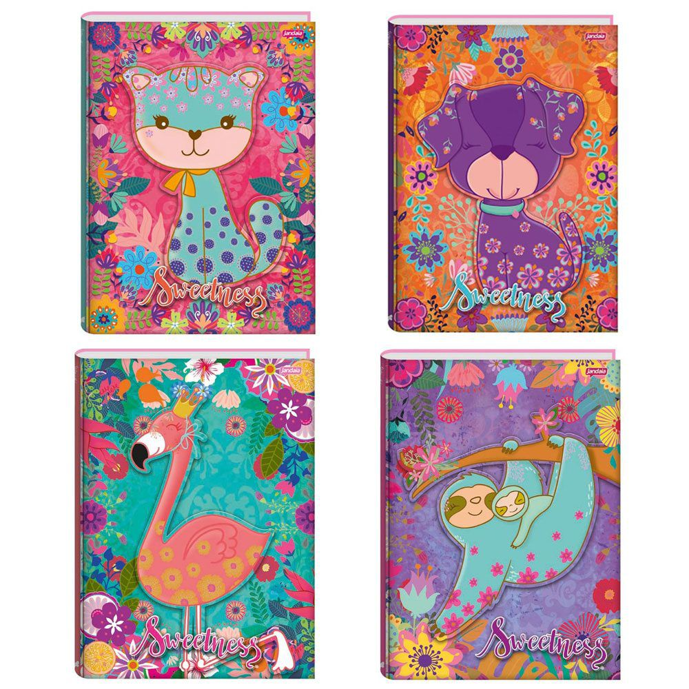 Caderno Capa Dura Brochurão Sweetness 96 Folhas - Jandaia