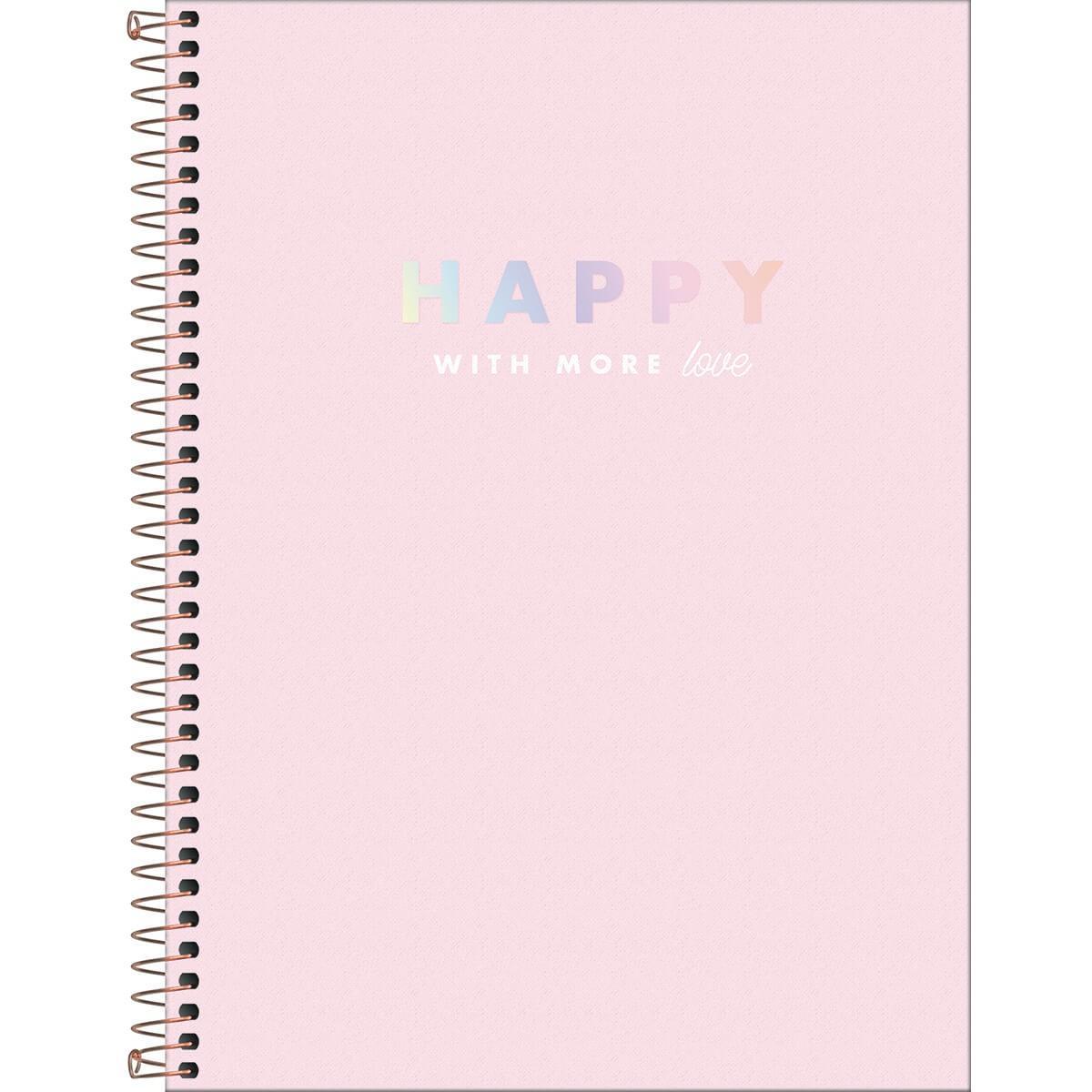 Caderno Espiral Capa Dura Universitário 10 Matérias Happy 160 Fls - Tilibra