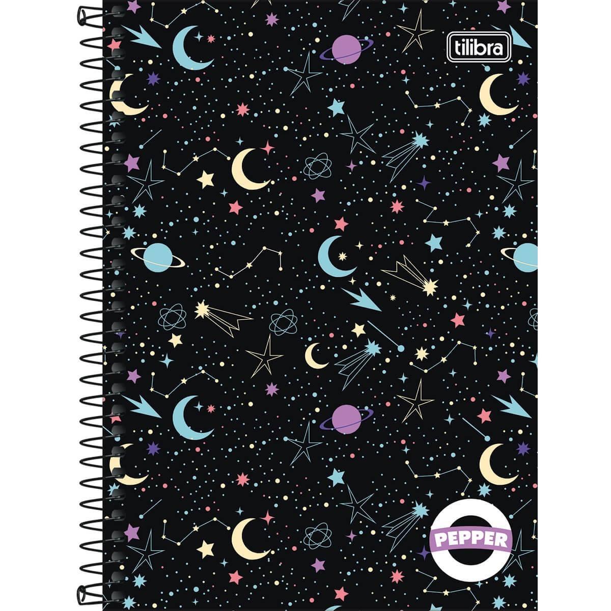 Caderno Espiral Capa Dura Universitário 1 Matéria Pepper Feminino 80 Folhas - Tilibra