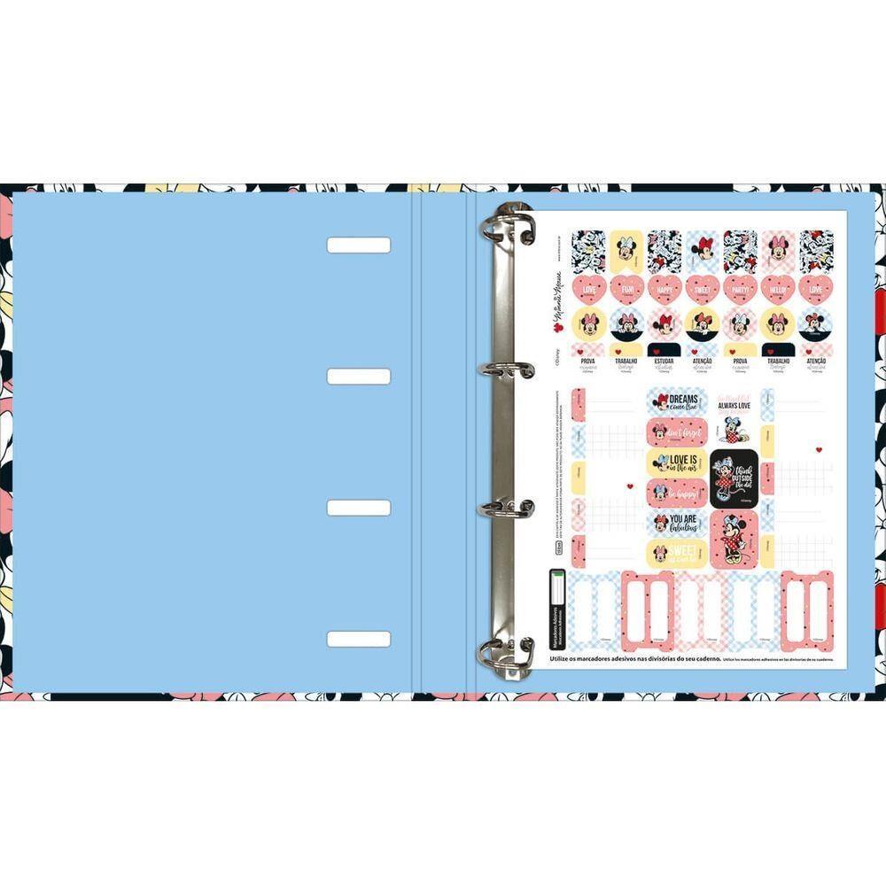 Fichário/Caderno Argolado Cartonado C/ Elástico Minnie 80fls - Tilibra