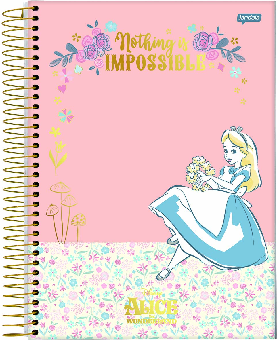 Caderno Espiral Capa Dura Universitário 10 Matérias Alice 160 Fls - Jandaia