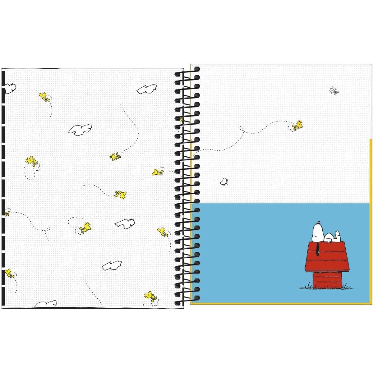 Caderno Espiral Capa Dura Colegial 10 Matérias Snoopy 160 Fls - Tilibra